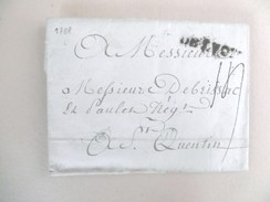 Lettre De Lyon Vers St Quentin De 1788 - Marcophilie (Lettres)