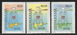 1985 Panama Contadora Peace Process Map Airmail Complete  Set Of 3 MNH - Panama