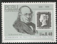 1992 Peru Penny Black Rowland Hill Complete Set Of 1 MNH - Perú