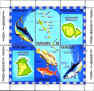VANUATU 1983 Economic Area, Fish, Maps, Fauna MNH - Vanuatu (1980-...)