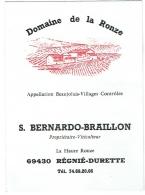 Vin : Beaujolais-Régnié. Domaine De La Ronze. Talon Publicité/Tarif 1987 - Alimentaire