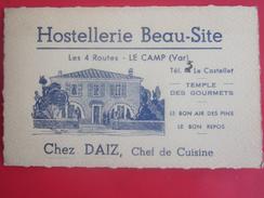Vintage Hostellerie Beau-Site Les 4 Routes LE CAMP Var Le Castellet Chez Le Chef Daiz . Carte De Visite Publicitaire - Tarjetas De Visita