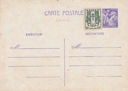 FRANCE C.P. ENTIER POSTAL TYPE IRIS 1f20 + COMPLEMENT AFFRANCHISSEMENT BLASON 30c   /1 - 1921-1960: Moderne