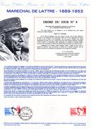 """FRANCE 1989 : Document Philatélique Officiel N° YT 2611 """" MARECHAL DE LATTRE DE TASSIGNY """". Parfait état ! - Militaria"""
