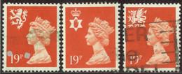 GB 1988 Yv. N°1349 à 1351 - 19p Orange Emissions Régionales - Oblitéré - Machins