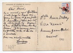 """Cachet Linéaire """"GAZINET"""" (Gironde)--sur Tp Coq Le Tout Sur Cpsm """"belle Pêche"""" - Marcophilie (Lettres)"""