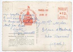 """EMA--1957--""""Souvenir Du Sommet De La Tour Eiffel""""-PARIS VII--machine N° K 0484 -sur Cpsm Basilique Sacré-Coeur - EMA (Printer Machine)"""