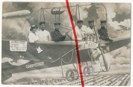 PostCard - Original Foto - Darmstadt - 1914 - Soldaten Flugzeug Zeppelin Im Fotostudio - Darmstadt