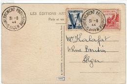 LCTN47/3 - ALGERIE - VICTOIRE X 2 SUR CPA OBL. GOUVERNEMENT PROVISOIRE ALGER 31/8/1944 - Algeria (1924-1962)
