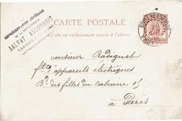 LCTN47/3 - TUNISIE EP CP TABARKA / PARIS 9/5/1902 - Tunisia (1888-1955)