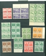 British Colonies War Tax Ship Fish Early Issues Blocks Of Four MNH  WYSIWYG A04s