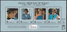 Bermuda SG MS787 1998 Diana, Princess Of Wales, Commemoration Miniature Sheet Unmounted Mint [34/28876/2D] - Bermudes