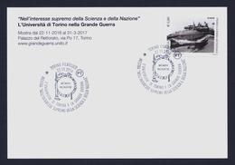 """2016 ITALIA """"CENTENARIO PRIMA GUERRA MONDIALE / UNIVERSITA' DI TORINO NELLA GRANDE GUERRA"""" CARTOLINA 22.11.2016 (TORINO) - Italia"""