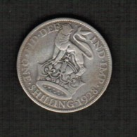GREAT BRITAIN  1 SHILLING (SILVER) 1928 (KM # 833) - 1902-1971 : Post-Victorian Coins