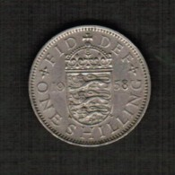 GREAT BRITAIN  1 SHILLING 1958 (KM # 904) - 1902-1971 : Post-Victorian Coins