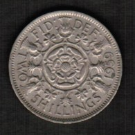 GREAT BRITAIN  2 SHILLINGS 1959 (KM # 906) - 1902-1971 : Post-Victorian Coins