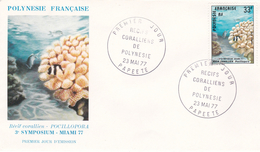 French Polynesia 1977 Corals, Pocillopora, FDC - FDC