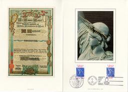 """Encart Philatélique En Soie De 4 Pages De 1986. N° YT 2421 + USA N° YT 1672 """" 100 ANS DE LA STATUE DE  LA LIBERTE """". - Emissions Communes"""