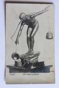Rotograph Co. Old Postcard GIRL DIPPING WATER, Real Photo - Sculptures