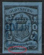 Oldenburg Auf 1 Groschen Blau - Oldenburg Nr. 6 A II - Kabinett