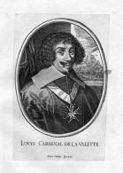 """""""Louys Cardinal De La Valette"""" - Louis De Nogaret De La Valette Portrait Kupferstich Antique Print - Prenten & Gravure"""