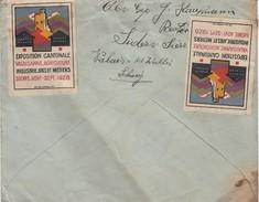 SUISSE. 12 9 1928. LETTRE DE SIDERS SIERRE POUR VOLKLINGEN SAAR. AU VERSO 2 VIGNETTES EXPOSITION CANTONALE VALAISANNE 28 - Zwitserland