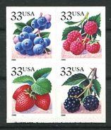 198 ETATS UNIS (USA) 2000 - Yvert 3038/41 - Fruit Fraise Framboise Mure Myrtille - Neuf ** (MNH) Sans Trace De Charniere - Neufs