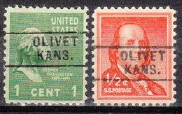 USA Precancel Vorausentwertung Preos Locals Kansas, Olivet 745, 2 Diff.