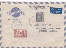 FINLAND.  28 1 1953. COVER PAR AVION. SAARIJÄRVI TO BELGIUM - Finnland