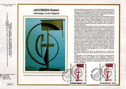 "FRANCE - DANEMARK 1988 "" SCULPTURE De ROBERT JACOBSEN "" Sur Feuillet CEF 1er Jour En Soie. N° YT 2551 + Dan. N° YT 931. - Emissions Communes"