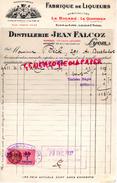 69 - LYON - FACTURE FABRIQUE LIQUEURS DISTILLERIE JEAN FALCOZ- LE BIGARRE-LE QUOTIDIEN- ELIXIR DES ALPES- LYON 1937 - France