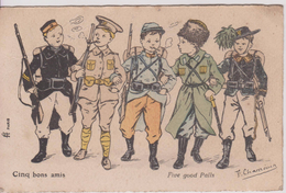 "Thèmes > Militaria > Patriotiques 14/18  "" Cinq Bon Amis "" Illustrateur Chamouin - Patriotiques"