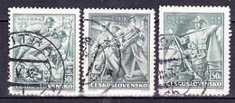 Tchécoslovaquie 1938 Mi 392-4 (Yv 337-9), Obliteré