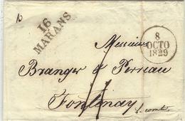 1829  - Lettre 16 / MARANS ( Char. Mar. ) 31 X 11 1/2 Mm Noir   Taxe 4 D Pour Fontenay - Marcophilie (Lettres)