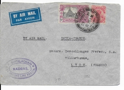 INDIA - 1935 - ENVELOPPE AIRMAIL De MADRAS => LYON - 1911-35 Roi Georges V