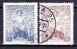 Tchécoslovaquie 1938 Mi 404-5 (Yv 347-8), Obliteré