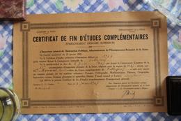 DIPLOME - Certificat De Fin D'Etudes Complémentaires ( Enseignement Primaire Supérieur - Diplômes & Bulletins Scolaires