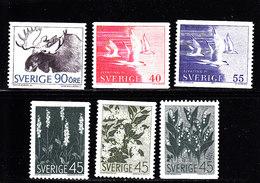 SWEDEN - SUEDE - SCHWEDEN - SUECIA - 1967-1971 - */MLH -  FAUNA, FLOWERS, SEAGULLS - Unused Stamps