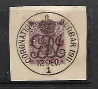 India: George V, CORONATION DURBAR 1911  12 DEC 1911, C.d.s. On Fragment With 2 Anna Stamp - 1911-35 King George V