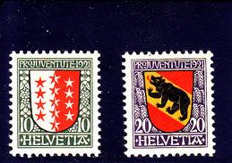 SCHWEIZ - SUISSE - SUIZA - 1921 - **/MNH - PRO JUVENTUTE  Mi 185/6   Yv 172/3