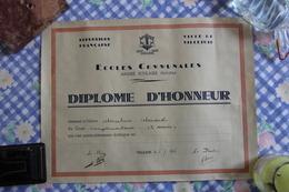 Diplôme D'Honneur Ecoles  Communales, Ville De VILLEJUIF - Diplômes & Bulletins Scolaires