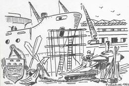 D 83  LA SEYNE SUR MER.   LE PORT LES CHANTIERS DESSIN DE R. CHABOT 1976 - La Seyne-sur-Mer