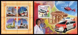S. TOME & PRINCIPE 2008 - European Ambulances - YT 2522-5 + BF425