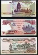 CG045. CAMBODIA / CAMBODGE - 100 (2001) - 500 (1998) - 1000 (1999) RIELS - UNC Mint, Uncirculated - Angkor Wat (2 Scans) - Cambodia