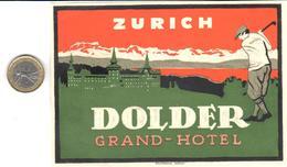 ETIQUETA DE HOTEL  -  DOLDER GRAND HOTEL  - ZÜRICH  -SUIZA (SUISSE)  (CON CHARNELA) - Etiquettes D'hotels