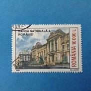 2003 ROMANIA FRANCOBOLLO USATO STAMP USED - Banca Nazionale Palazzo Di Bucarest 10000 L