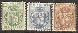 CUBA TELEGRAFOS 1878 EDIFIL 43/5* SERIE COMPLETA - Cuba (1874-1898)
