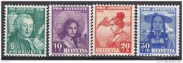 """SCHWEIZ 331-334, Postfrisch **, """"Pro Juventute"""" 1938, Salomon Gessner, Frauentrachten"""