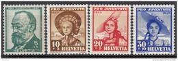"""SCHWEIZ 373-376, Postfrisch **, """"Pro Juventute"""" 1940, Gottfried Keller, Frauentrachten"""