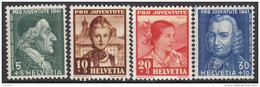 """SCHWEIZ 399-402, Postfrisch **, """"Pro Juventute"""" 1941, Johann Kaspar Lavater, Frauentrachten"""